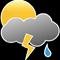 Bewölkt mit stürmischen Regenschauern
