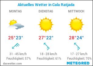 Aktuelle Wetterkarte für Cala Ratjada, Spanien